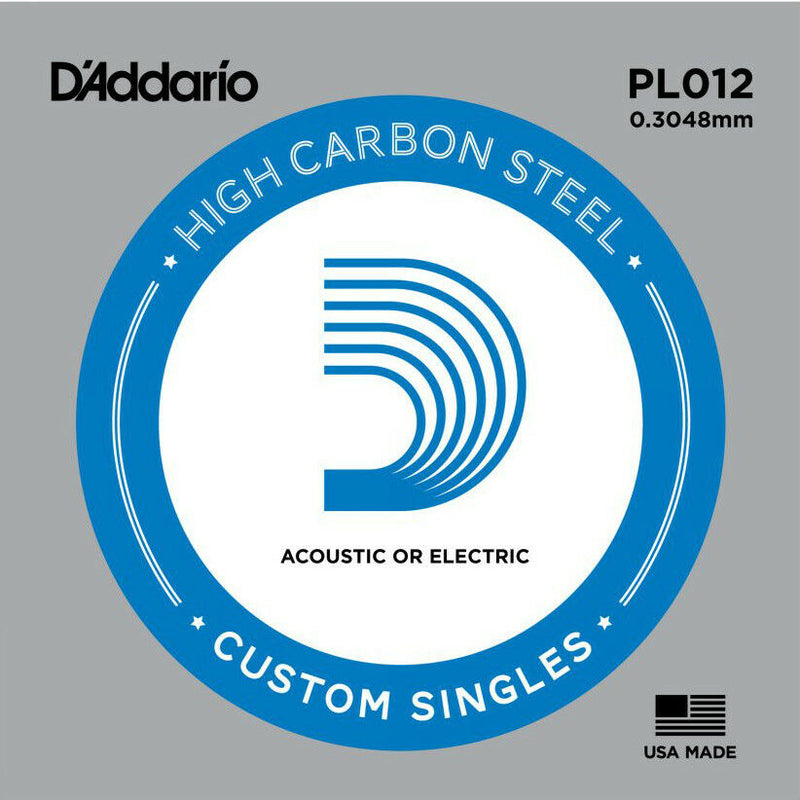 5 X D'ADDARIO PLAIN STEEL SINGLE GUITAR PL012.Electric or Acoustic 5 Pack