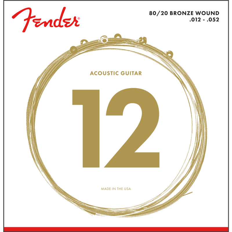 Fender 80/20 Bronze Acoustic Strings, Ball End, 70L .012-.052 P/N 0730070403