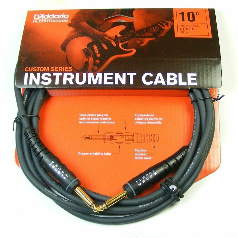 D'Addario PW-G-10.10' Custom Series Instrument Cable.Straight / Straight Jack