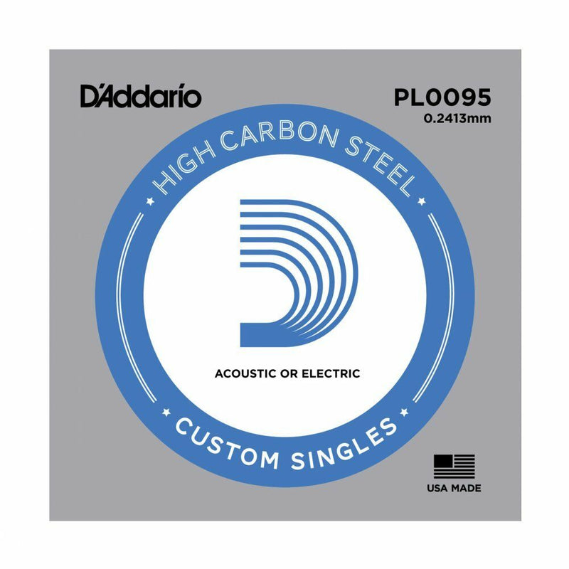 5 X D'ADDARIO PLAIN STEEL SINGLE GUITAR PL009.5.Electric or Acoustic 5 Pack