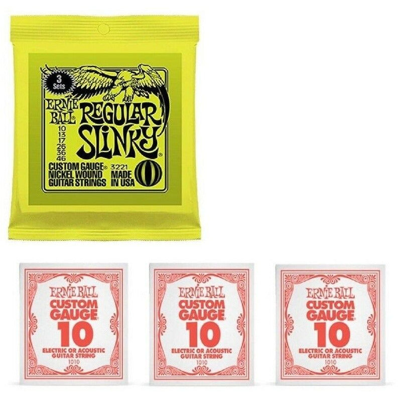 Ernie Ball Regular Slinky 3 Pack With 3 x Extra Top E Strings.P/N 3221+1010x3