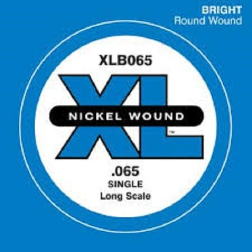 D'Addario XLB065 Nickel Wound Bass Guitar Single String, Long Scale .065