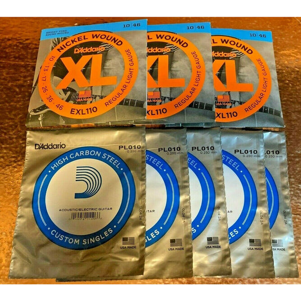 3 X D'Addario EXL110 Electric Guitar Strings.10-46 + 5 x Single 10 Gauge Strings