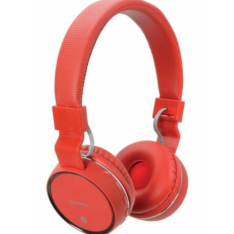 Av Link Wireless Bluetooth Rechargeable Headphones with Built-in FM Radio, Red