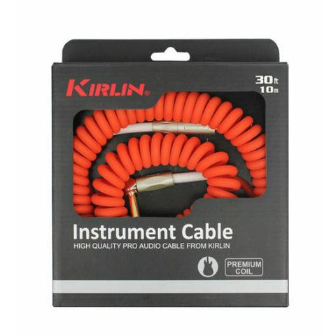 Kirlin Premium Coil 30ft Guitar Cable, Red Finish IMK202COILR