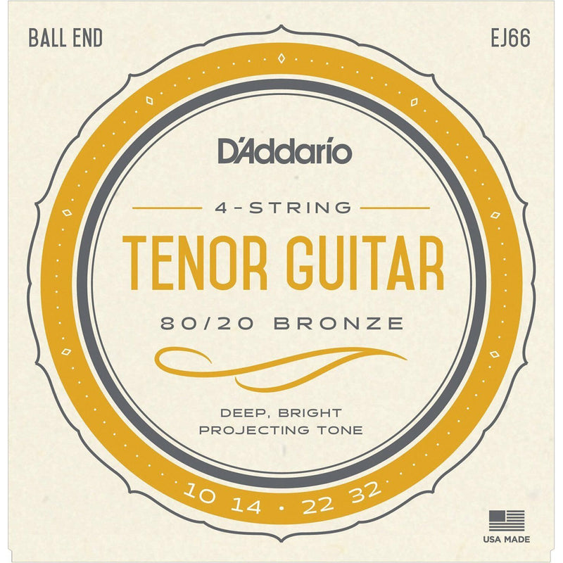 D'Addario EJ66 Tenor Guitar Strings.Plain Steel .010,.014 Bronze Wound .022,.032