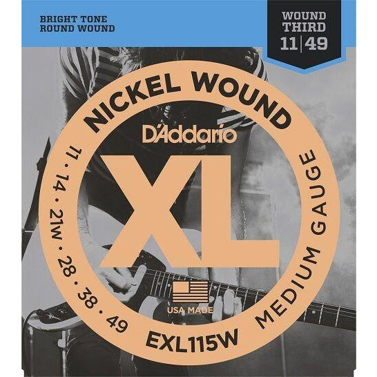 D'Addario EXL115W . Nickel Blues-Jazz Rock Strings, Wound 3rd, 11-49 Gauge