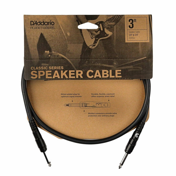 D'Addario  3' Jack To Jack Classic Series Speaker Cable. PW-CSPK-03