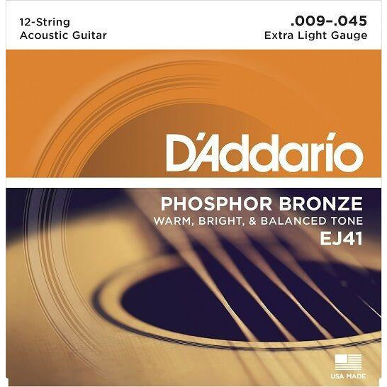 D'Addario EJ41 12-String Phosphor Bronze Guitar Strings, Extra Light, 9-45