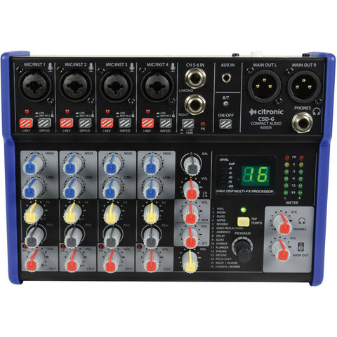 Citronic CSD-6 Compact Mixers with BT and DSP Effects.6 Channels, XLR Outputs.