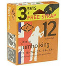 Rotosound JK12-31 Phosphor Bronze Acoustic Guitar Strings 12-54 3 Pack + Strap