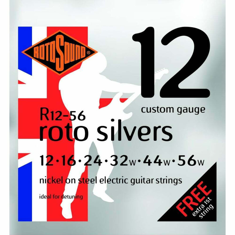 Rotosound Roto Silvers 12-56 Nickel Electric Guitar Strings, UK Made!