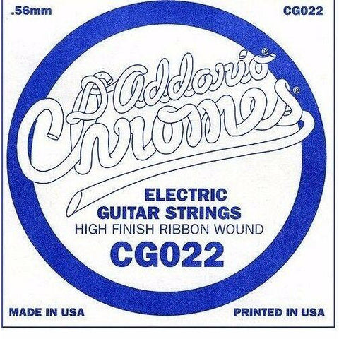 D'Addario CG022 Chrome Flatwound Electric Guitar Single Strings Gauge 022 5 Pack