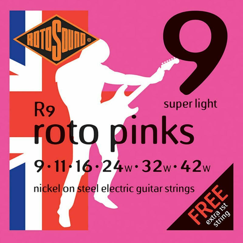 2 Sets Of Rotosound R9 Roto Pink Nickel Electric Guitar Strings 9-42 Super Light