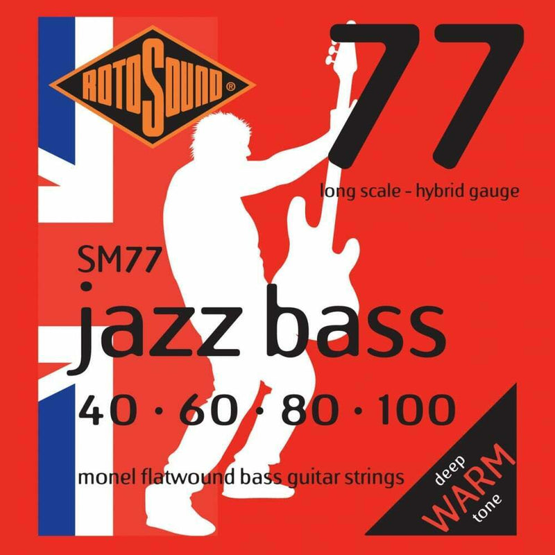 Rotosound SM77 Jazz Bass Flatwound Bass Guitar Strings 40-100 Long Scale Strings