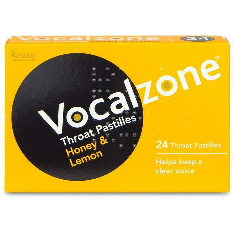 Vocalzone Pastilles Honey And Lemon Flavour Pack of 24. Helps Keep A Clear Voice