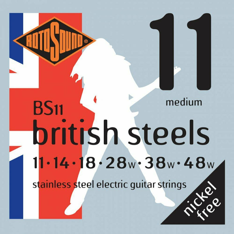 Rotosound BS11 British Steel Stainless Steel Electric Guitar Strings, 11-48