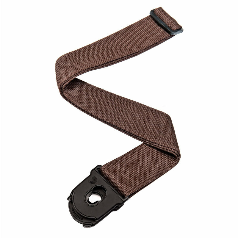 D'Addario Lock Strap PW-SPL-209 BROWN - Locks On To The Guitar, New Design!