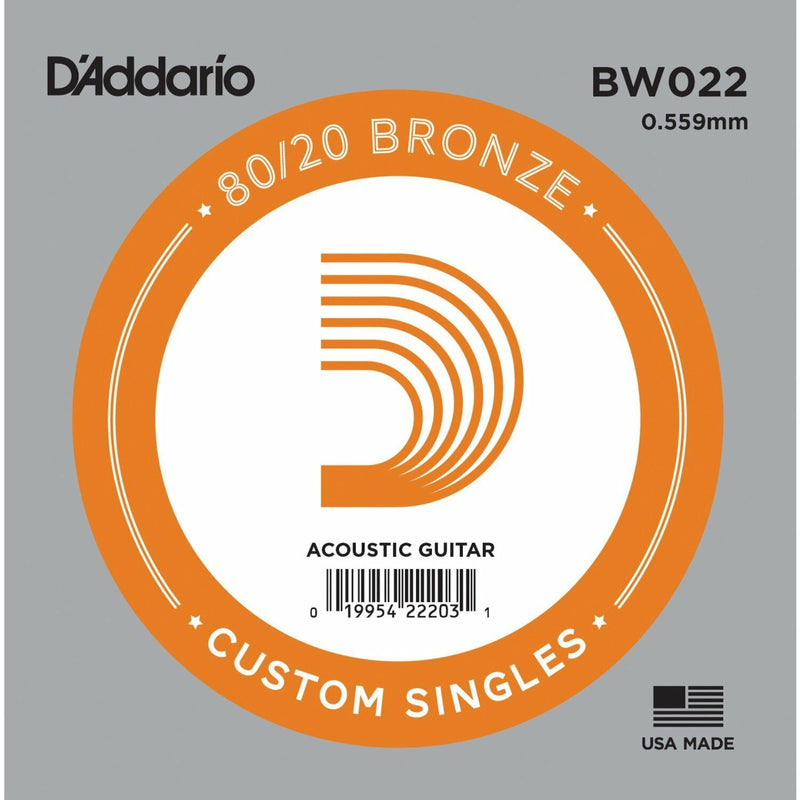 5 X D'Addario BW022 80/20  Bronze Wound  Acoustic Guitar Single String .022