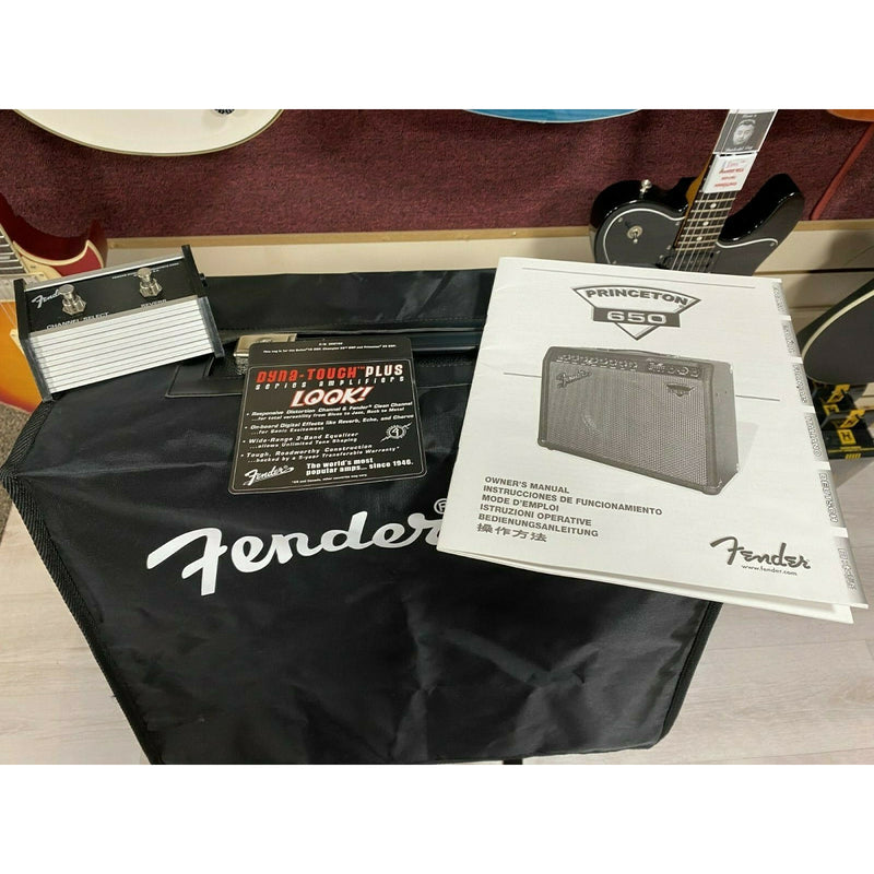 Fender Dyna-Touch III Princeton 650 Electric Guitar Amplifier + Cover + Switch