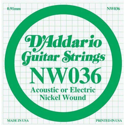 D'Addario Nickel Wound Single Guitar Strings 5 X 036.P/No:-NW036
