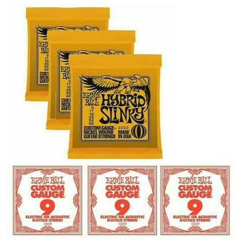 3 x Packs Ernie Ball 2222 Hybrid Slinky With 3 x Extra Top E Strings. VALUE PACK