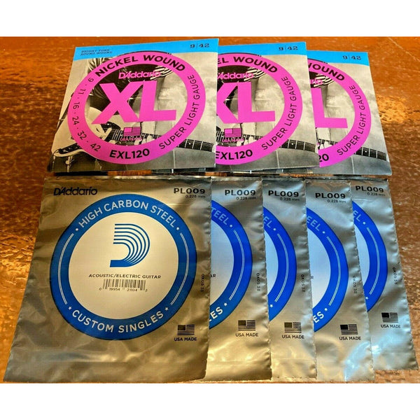 3 X D'Addario EXL120 Electric Guitar Strings 9-42.+ 5 X Single 9 Gauge Strings