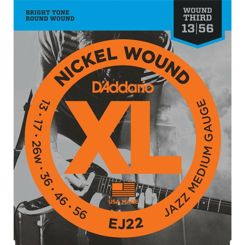 D'Addario EJ22 Nickel Wound Jazz Medium 013-.056.Wound 3rd String. Jazz Set.