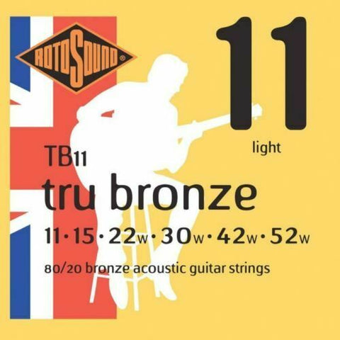 Rotosound TB11 Tru Bronze 80/20 Bronze Acoustic Guitar Strings 11-52 UK Made