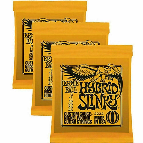 3 x Ernie Ball Hybrid Slinky Electric Guitar Strings 9-46. 3 Packs p/n 2222