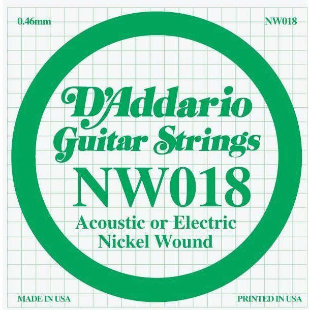 D'Addario Nickel Wound Single Guitar Strings 5 X 018.P/No:-NW018 - D'Addario - Craigs Music Ltd