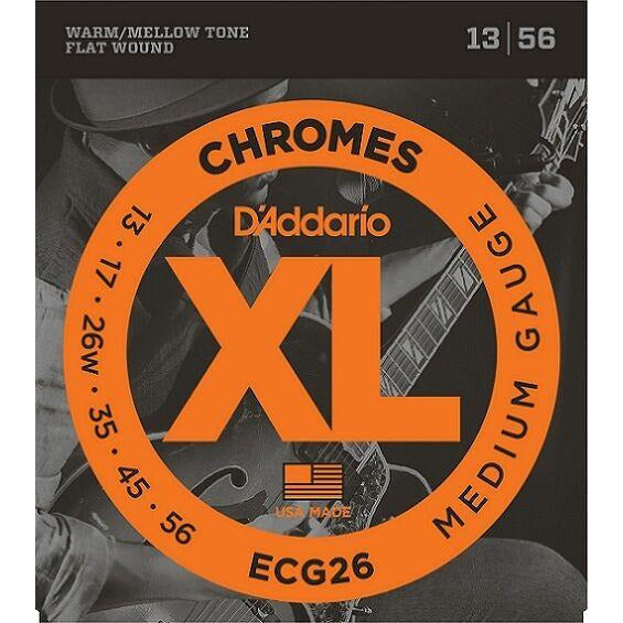 D'Addario ECG26 Flat Wound Chromes,  Medium Electric Strings 13-56 - D'Addario - Craigs Music Ltd