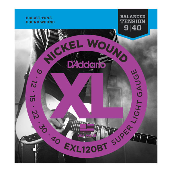 D'Addario EXL120BT Balanced Tension Electric Guitar Strings.9,12,15,22w,30w,40w