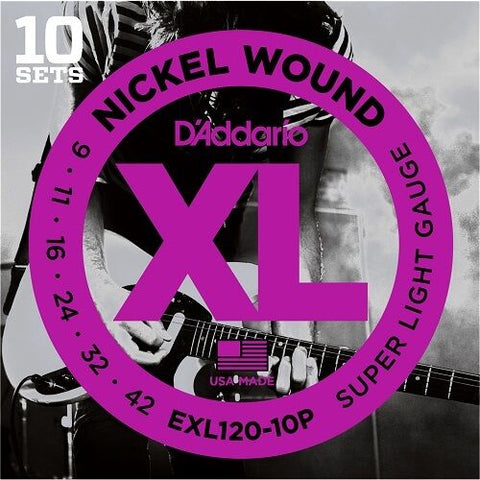 D'Addario EXL120  Pro Pack.10 SETS Nickel Wound,Super Light 9-42.BIG Savings ! - D'Addario - Craigs Music Ltd