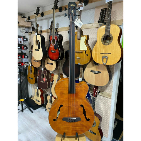 Aria FEB Fretless F Hole Acoustic Bass.Flamed Natural Nato Finish.On Board Tuner