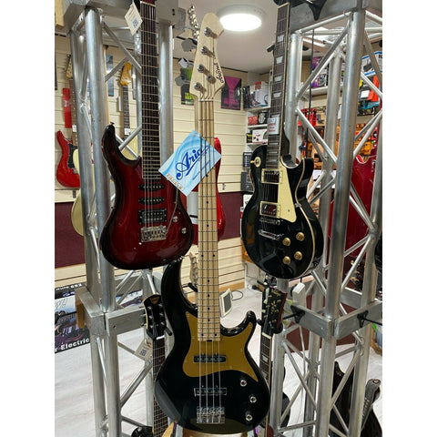 Aria  RSB 618/4 Electric Bass Guitar, Black Finish, Gold Anodized Plate