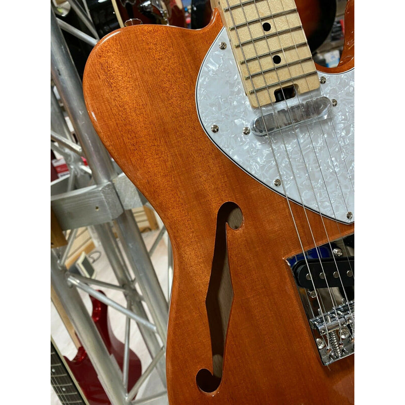 Aria 615 Electric Guitar. Natural Finish Okume Thinline Body. Maple Neck & Board