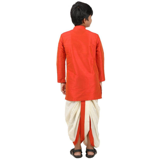 Kids Kurta Panchakacham Set - Dark Orange (4361368272943)