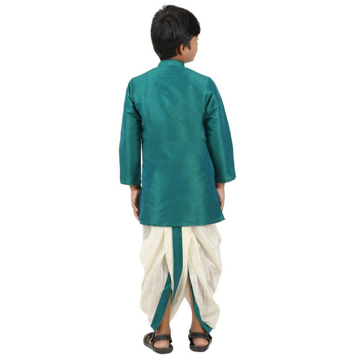 Kids Kurta Panchakacham Set - Dark Green (4361380134959)