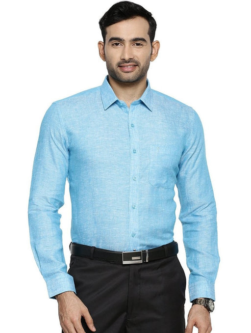 Linen Park 5605C Full Sleeve Shirt - Light Sea Green