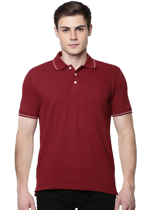Sport Polo Pocket T-Shirt - Maroon