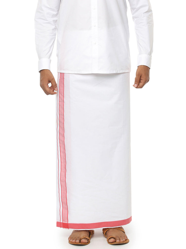Pound Plain Dhoti - Red