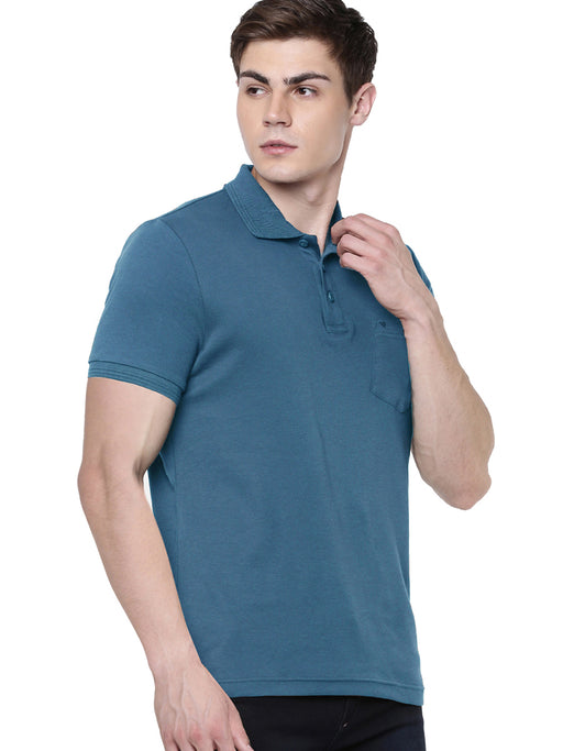 Liquid Polo Pocket T-Shirt - Peacock Blue