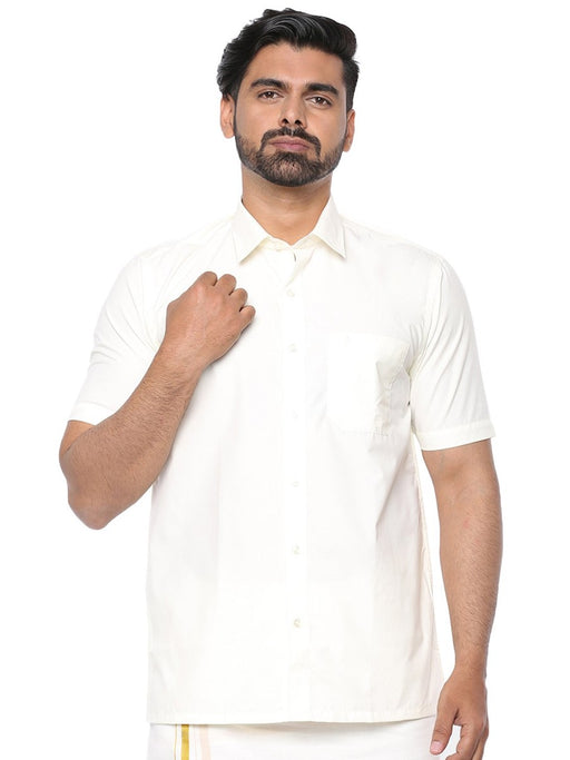 Mangalyam Cream Half Sleeves Shirt