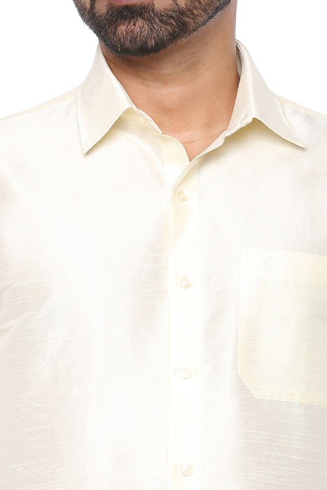 Silk Park - Cream Half Sleeve Shirt