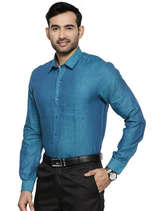 Linen Park 5605C Full Sleeves Shirt - Prussian Blue