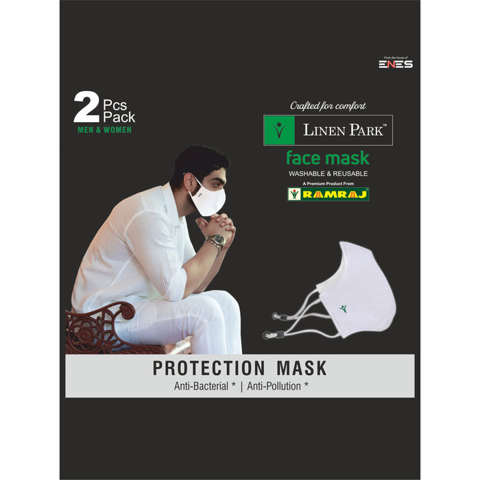 Linen Park - 3 Layer Face Mask with Adjustable Ear Loop [ 2 in 1 Pack ]