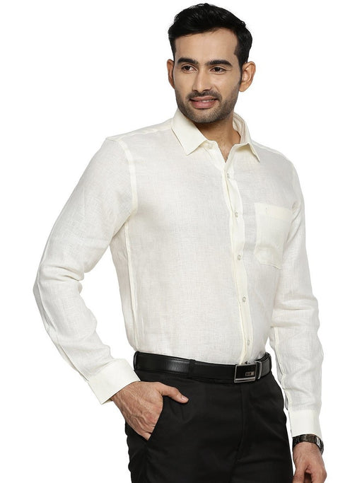 Linen Park 5605C Full Sleeves Shirt - Cream