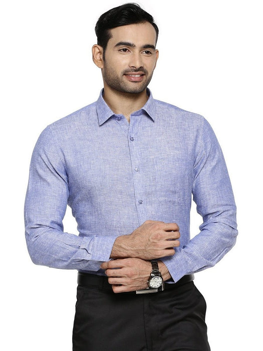 Linen Park 5605C Full Sleeves Shirt - DK Blue