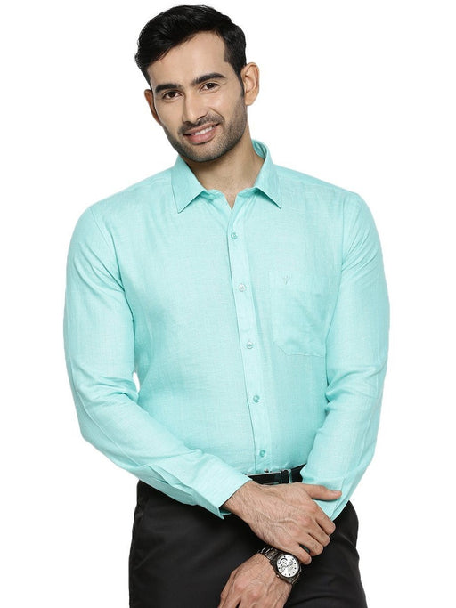 Linen Park 5605C Full Sleeves Shirt - LT Green